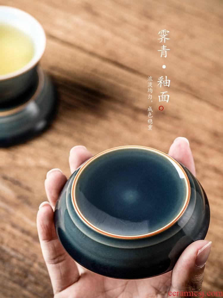 Jingdezhen cover rear lid ji green glaze ceramic cup mat pure manual saucer fittings of Japanese tea taking kung fu tea set