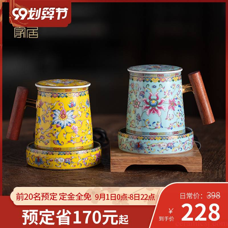 Office of jingdezhen ceramic tea set tea cups to separate Office cup filter tea cup thermostatic mugs