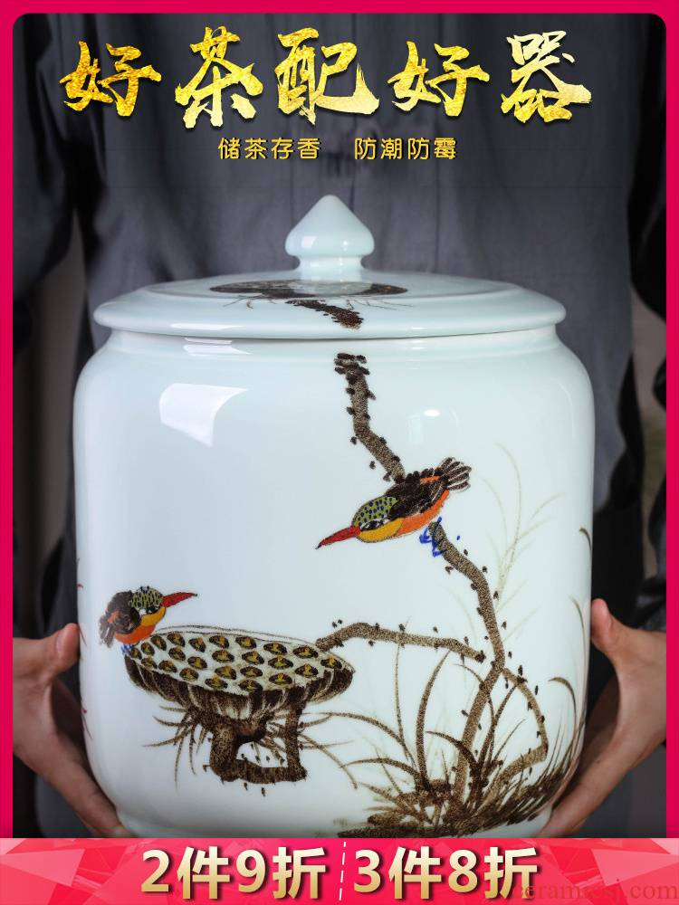 Jingdezhen ceramics for years to spare caddy fixings seal pot large moistureproof mildew household storage jar with cover