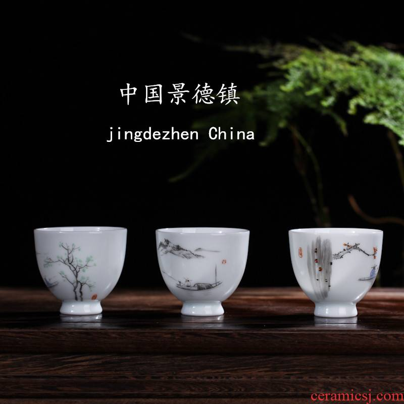 Jingdezhen contracted fine single small cup cup cup kung fu masters cup white porcelain manual hand - made a set of tea service