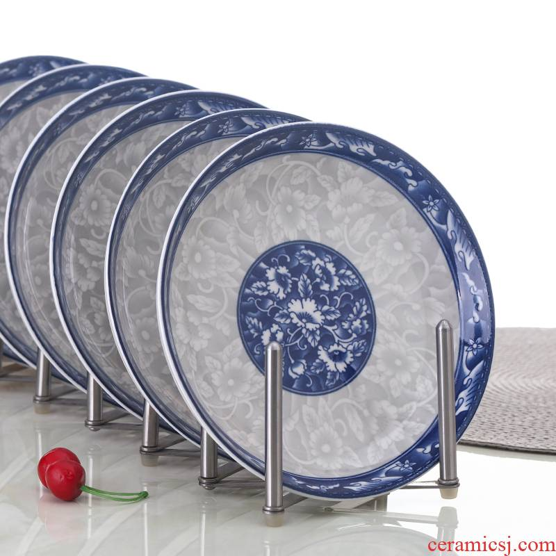10 with blue and white porcelain ceramic package mailed home web celebrity deep dish soup plate suit microwave oven plate