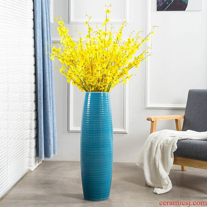 Jingdezhen ceramic floor big vase high sitting room European - style decorative dried flowers flower arrangement I and contracted household furnishing articles