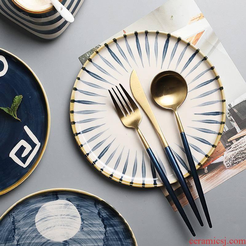 The Japanese kitchen hand - made ceramics steak dinner plate retro move dessert tableware plate disc household art
