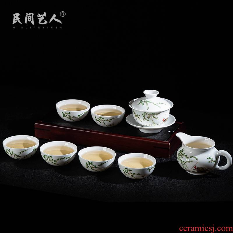 Jingdezhen ceramic hand - made kung fu tea set of household famille rose tea set tea table tea taking
