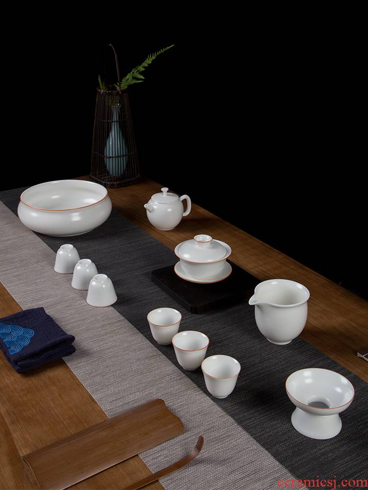 Your up tea suit household jingdezhen ceramic kung fu tea cups of a complete set of high - grade office gifts the teapot