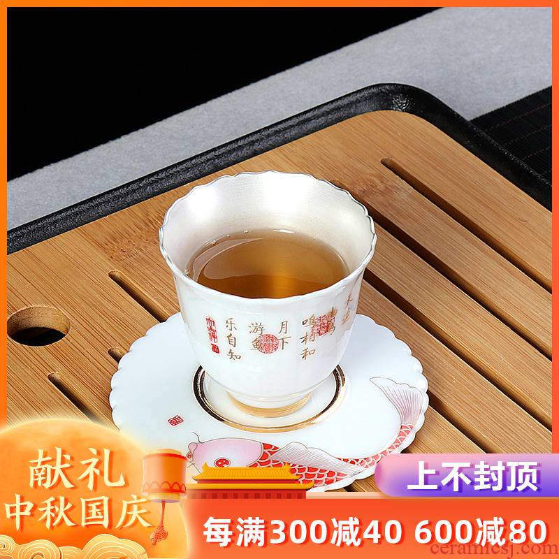 Artisan fairy tea tasted silver gilding Japanese pure manual kung fu personal household ceramics cup sample tea cup master cup single CPU