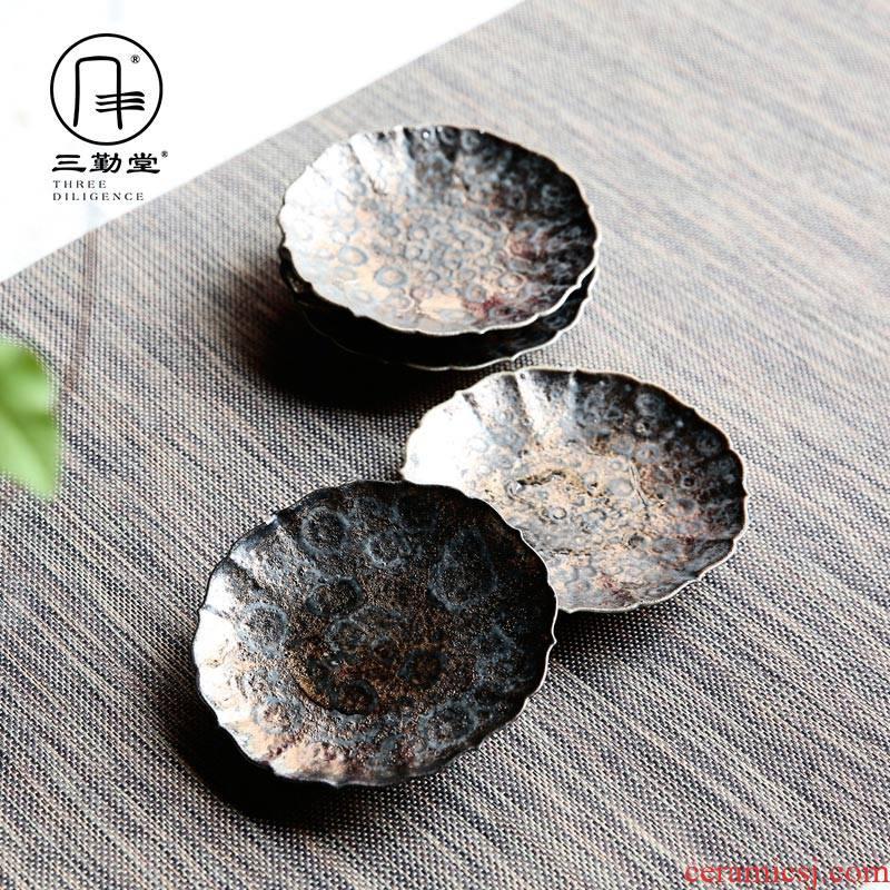 The three regular glass cups and saucers jingdezhen ceramic saucer metal glaze teacup tea accessories S04002 disc plate