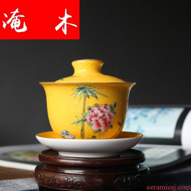 Submerged wood jingdezhen store tea tureen famille rose porcelain porcelain hall peony kung fu tea set the original hand - made pick flowers