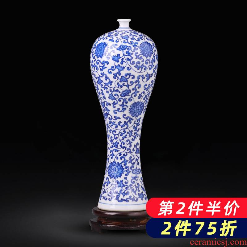 Jingdezhen porcelain ceramic small expressions using plugged into the blue and white porcelain vase of new Chinese style household furnishing articles rich ancient frame sitting room adornment