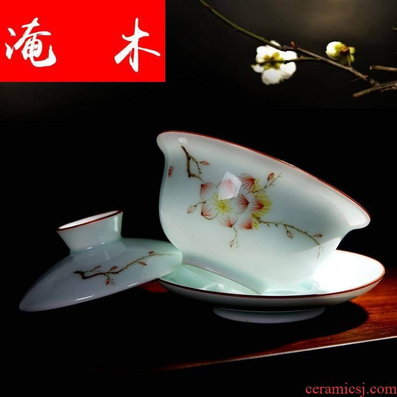 Flooded jingdezhen wood powder enamel hand - made ceramic tureen tea cup tea bowl of kung fu tea set three bowl of worship