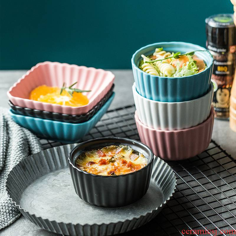 Circular creative baking cup pudding cups cake baking ceramic steamed egg bowl bowl of microwave oven baking utensils