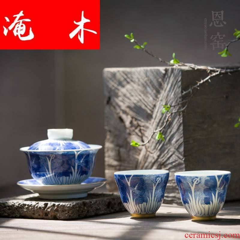 Flooded the blue and white hand - made wooden tureen jingdezhen porcelain tea set manually cabbage gold cup tea bowl set of gift box