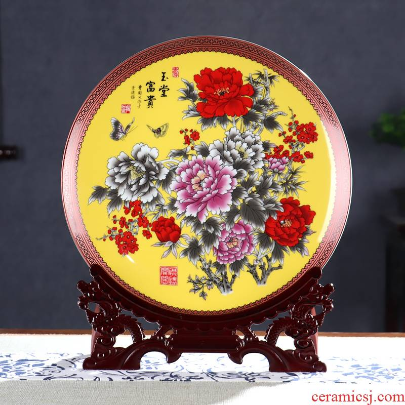The New product by disc hanging dish decorative plate rich ancient frame of jingdezhen ceramics wine furnishing articles sitting room handicraft ornament