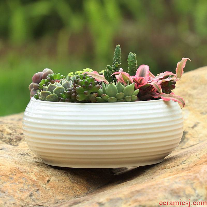 Large fleshy flowerpot ceramic Large - diameter meat meat combo platter coarse pottery breathable creative move green potted the plants