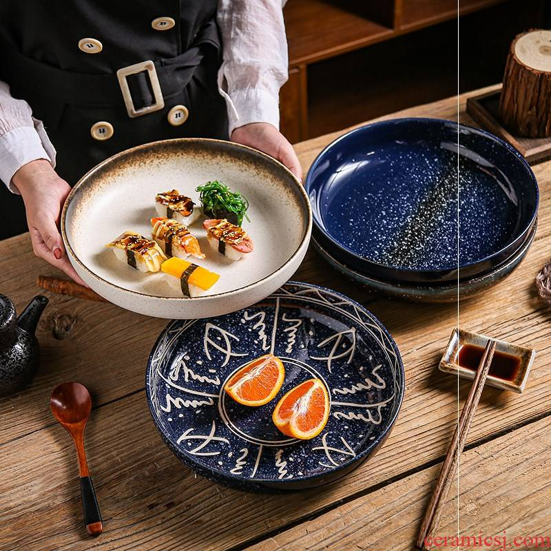 Deep dish to deepen who Japanese household food dish ceramic Deep expressions using large soup plate creative circular FanPan restaurant