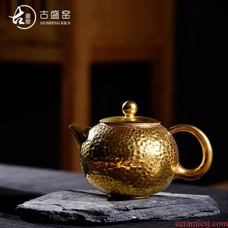 The new Japanese ancient sheng up 24 k coppering. As hammer xi shi pot of pure manual single pot of tea, porcelain up kung fu