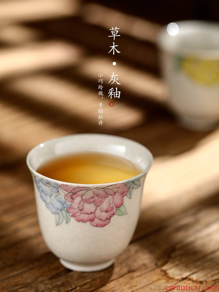 Small ceramic cups fragrance - smelling cup sample tea cup jingdezhen hand - made master cup single cup plant ash peony kung fu to the CPU