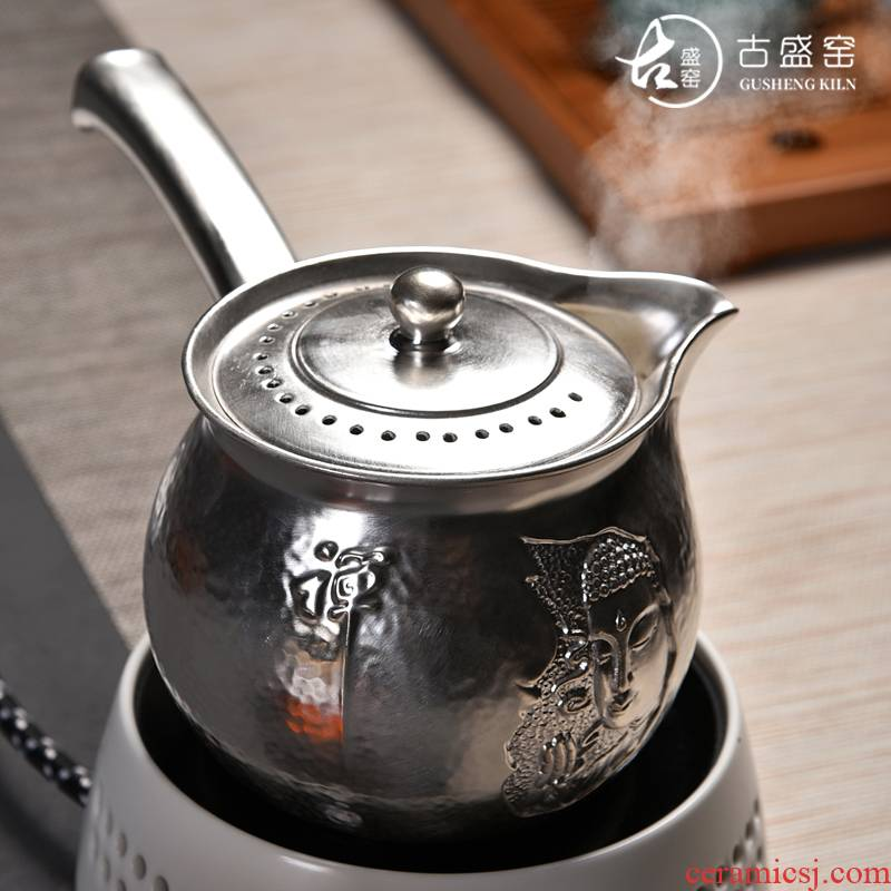 Ancient sheng up new sterling silver beadle zen Buddhism ceramic boiling pot teapot heat - resistant TaoLu tasted silver gilding craft pot of electricity