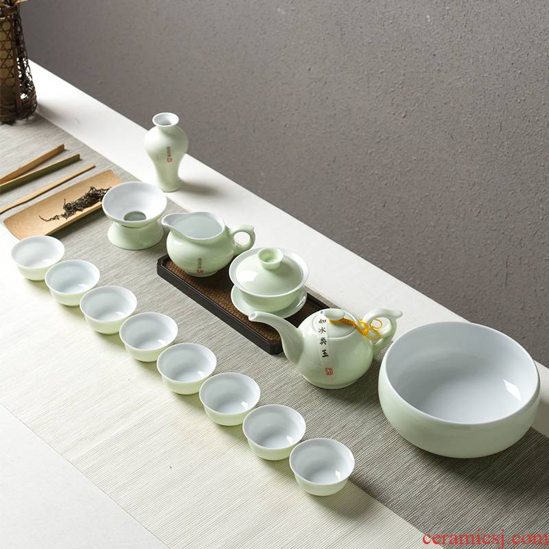 Tea set kung fu Tea cups of household contracted jingdezhen ceramic teapot Tea sea fair keller. A complete set of office