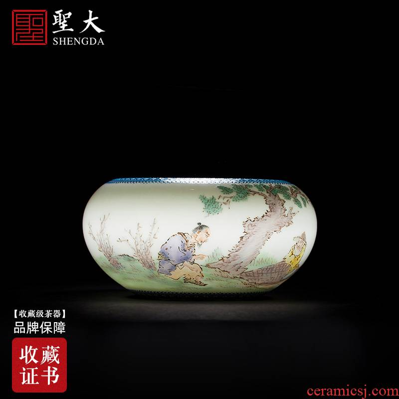 The big four writing brush washer all hand jingdezhen ceramic antique wang pastel character writing brush washer is placed on The questions and answers