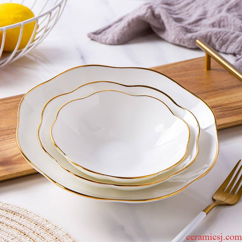 Up Phnom penh lace ipads porcelain plate round creative special - shaped deep dish of jingdezhen ceramic dish dish dish subnet configures during the quotation