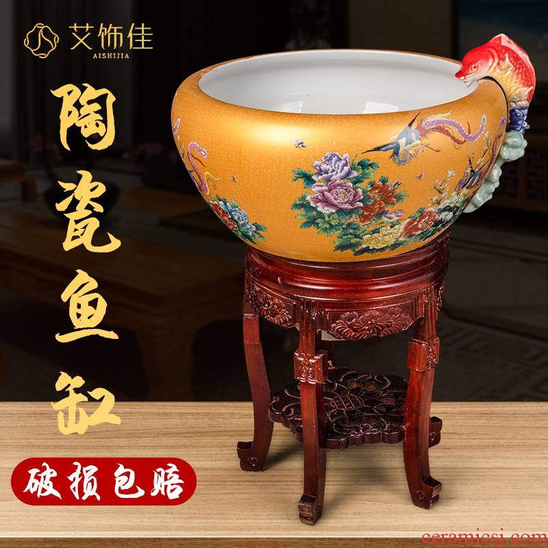 Jingdezhen ceramic aquariums circular loop filter water goldfish bowl office tank sitting room ground wind