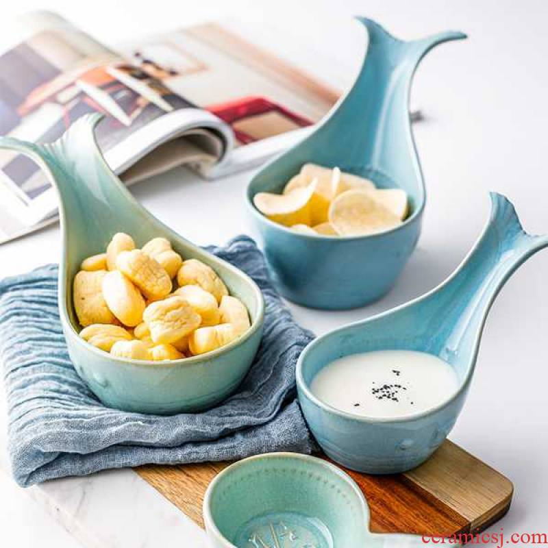 Nordic ins wind whale lovely roast small bowl of household ceramic bowl bowl bowl creativity tableware bowls