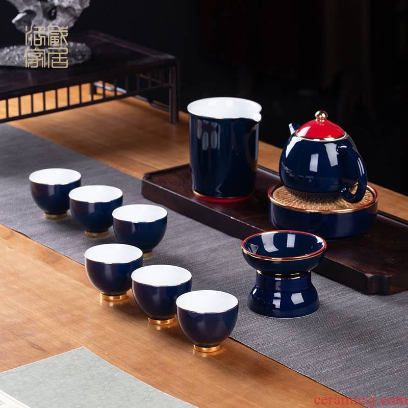 Ji blue glaze kung fu tea set suit household jingdezhen tureen teapot antique tea gift box gift fair keller