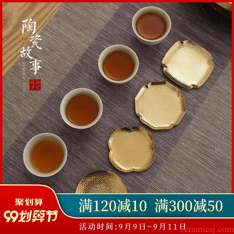Ceramic story pure copper manual creative Japanese teacup pad alloy saucer blowout hot insulation kung fu tea accessories