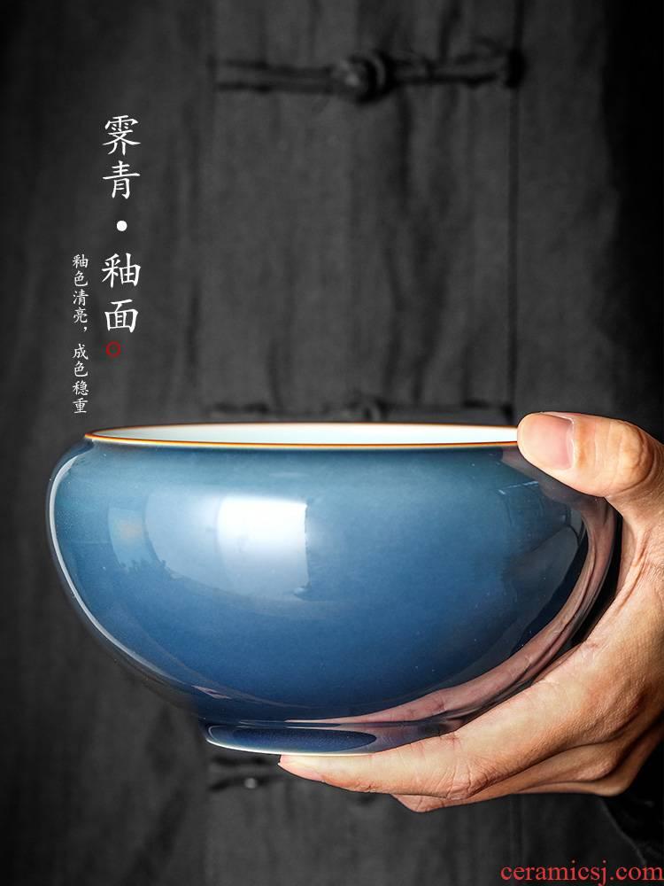 Jingdezhen washed a large water jar of pure manual ji green home tea machine fittings glaze tea tea bucket of writing brush washer tea set