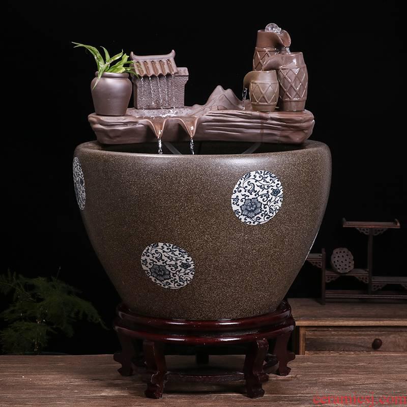 Jingdezhen ceramic goldfish bowl sitting room balcony office furnishing articles fish tank to decorate the yard cylinder water basin