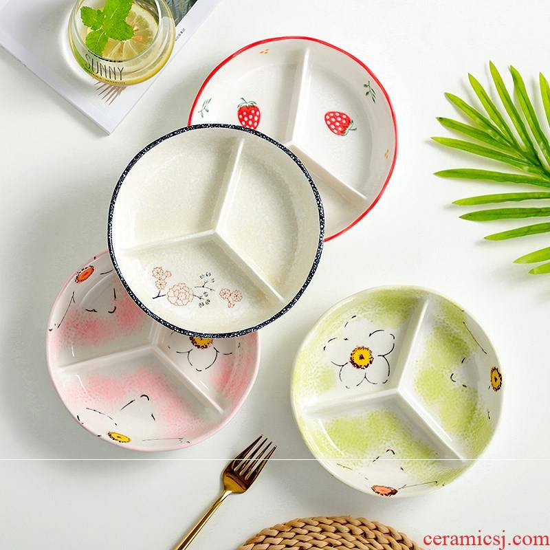 Wining three grid plate round ceramic plate lattice points, Japanese children bowl of steaming bowl of rice cooker household glair