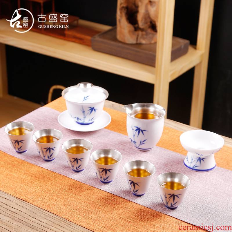 Ancient sheng up tasted silver gilding of blue and white porcelain tea set the whole household kung fu tea set silver colored enamel teapot tea cups
