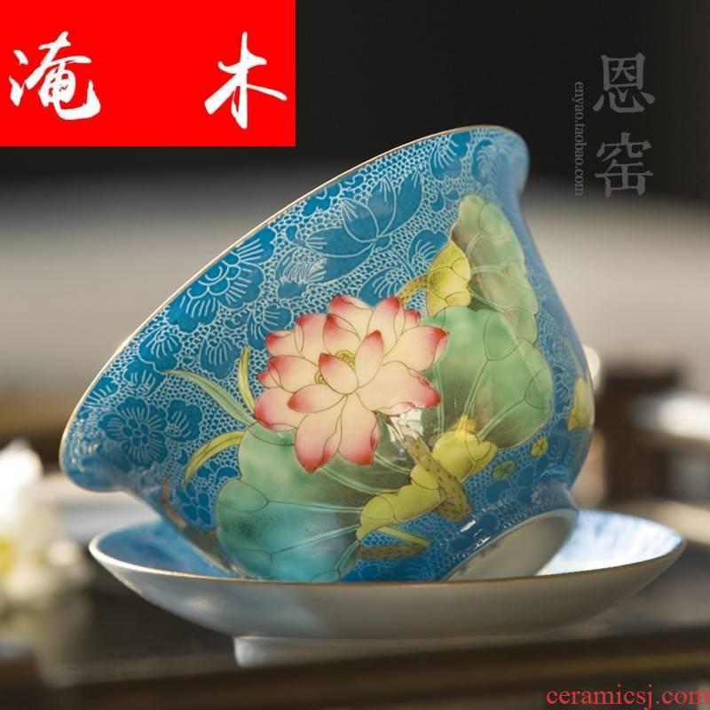 Submerged wood grilled pastel flowers tureen pastel name plum flower tea cup jingdezhen hand - made of hand - cut tea set three principal
