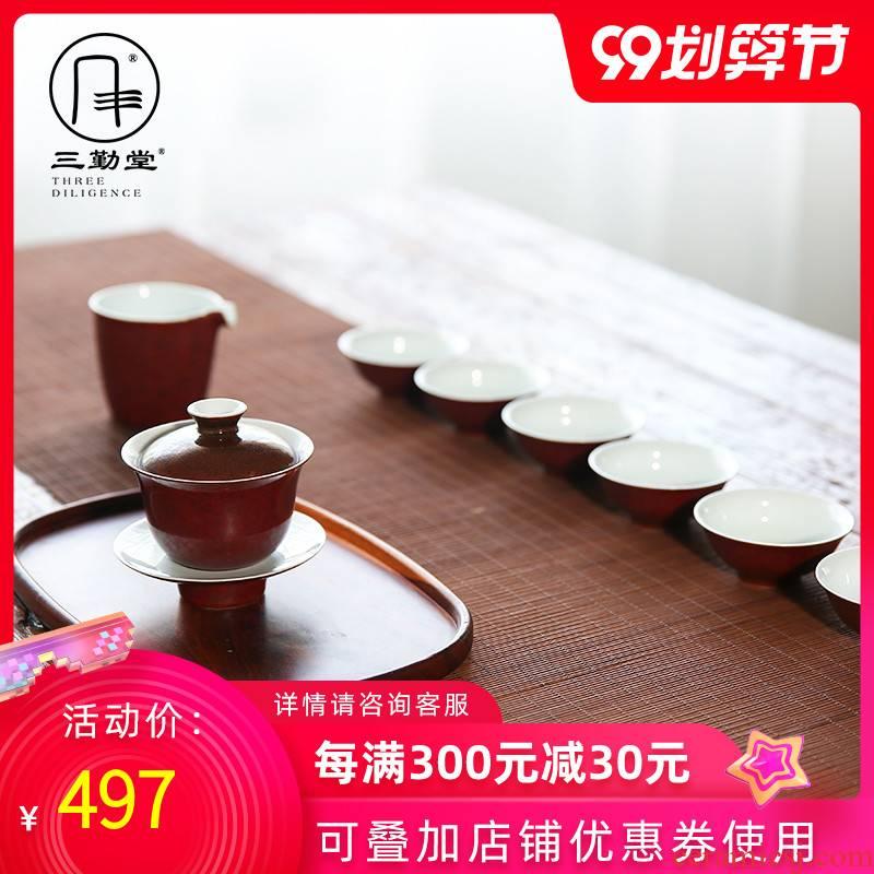 Three frequently tong ji red kung fu tea set jingdezhen ceramic fair tureen cup eight head TZS088 set of tea cups
