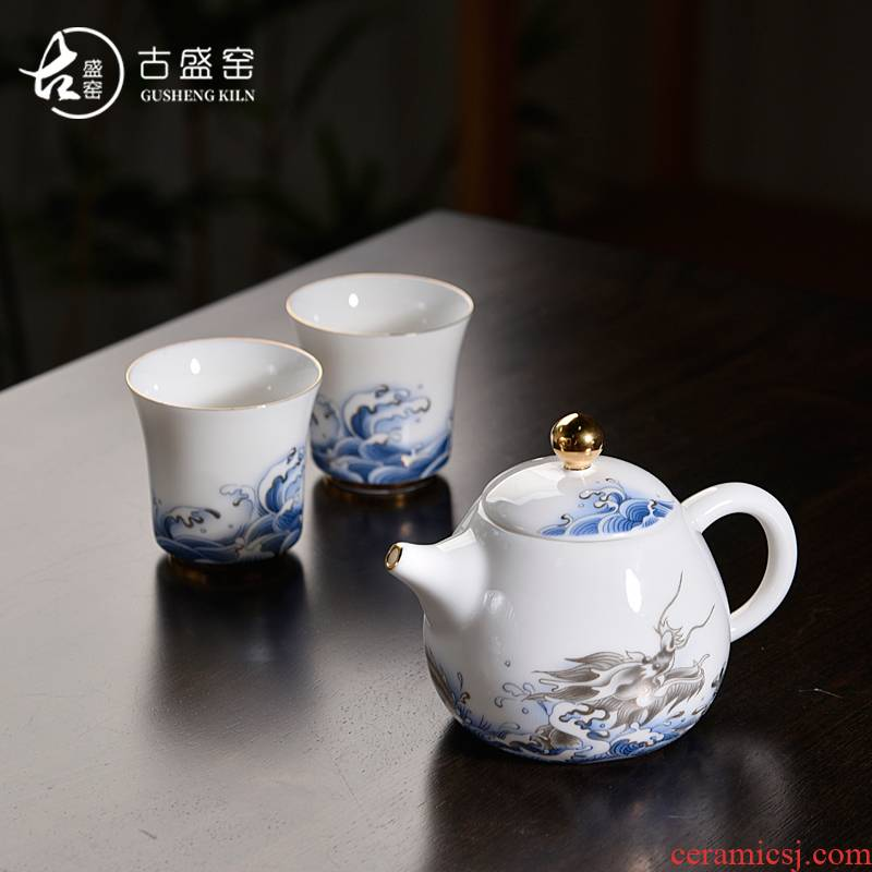Ancient sheng put out to sea blue and white dragon up enamel now pot two cup teapot cup tea home tea tureen tea pot