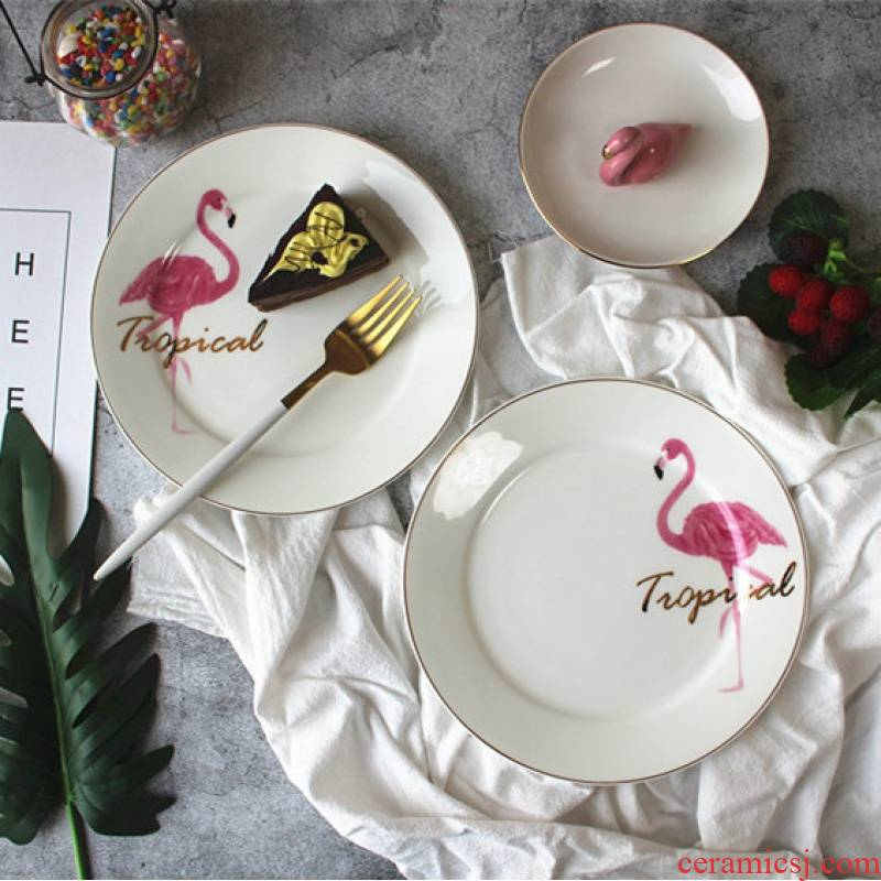 INS up phnom penh flamingos breakfast dishes ceramic western food steak dishes ipads porcelain plates disc dessert plate tableware