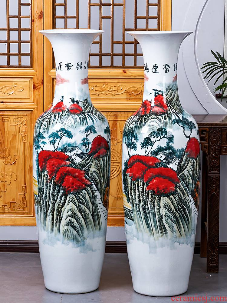 Jingdezhen ceramic hand - made luck of large vases, new Chinese style hotel adornment to heavy large living room