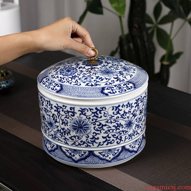 Blue and white porcelain tea pot ceramic tea cake large with cover tea box of storage tank with moistureproof furnishing articles