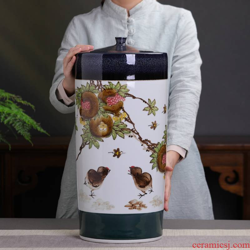 Hand - made pomegranate caddy fixings puer tea pot of jingdezhen ceramics with cover domestic large capacity storage tea large furnishing articles