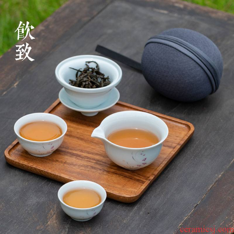 Ultimately responds to a pot of travel two cups of tea set, tea art ceramic crack cup portable is suing tea set with you receive package