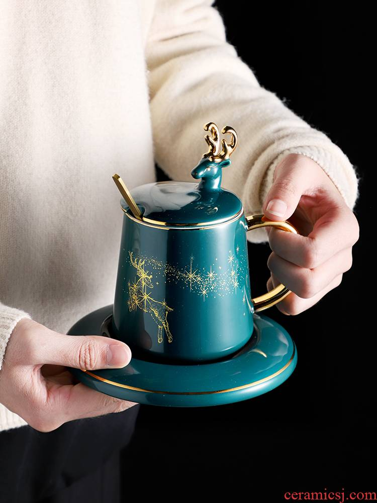 Nordic small key-2 luxury European - style household light delicate coffee cup key-2 luxury high - grade ceramic English afternoon tea tea set