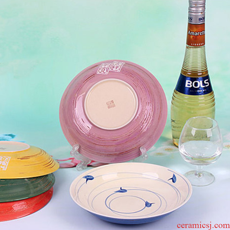 The Original Japanese and Korean ceramics tableware five - color series of peace and prosperity for the deep dish bowl
