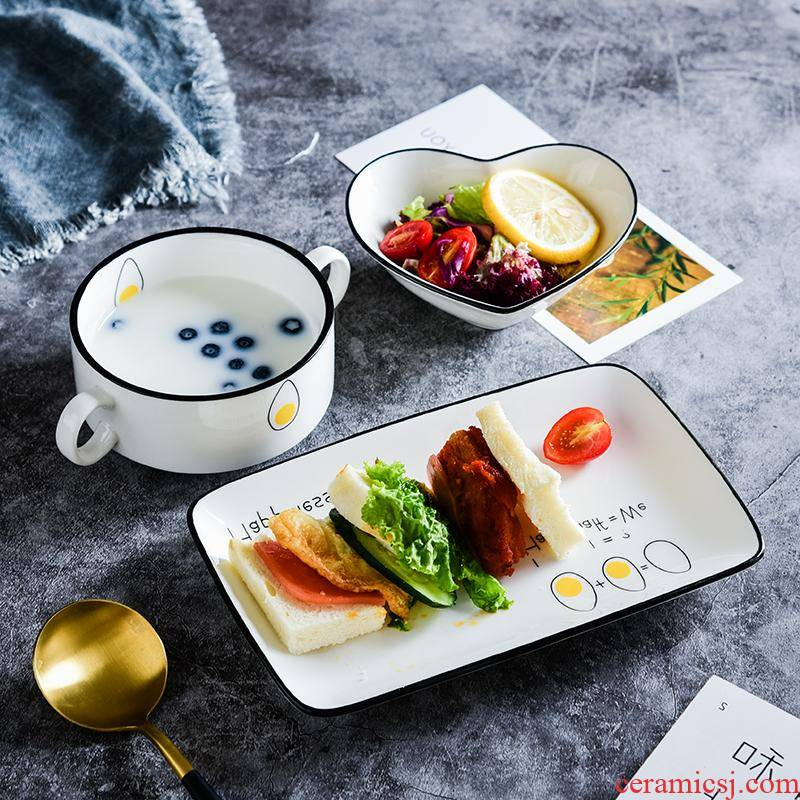 The kitchen tableware suit creative couples ceramic bowl of a food web celebrity breakfast Japanese confined domestic children 's dishes