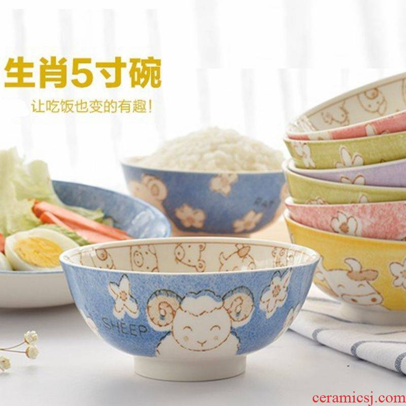 Express cartoon scene for jingdezhen 12 zodiac bowl home eat rice bowl ceramic bowl individual school
