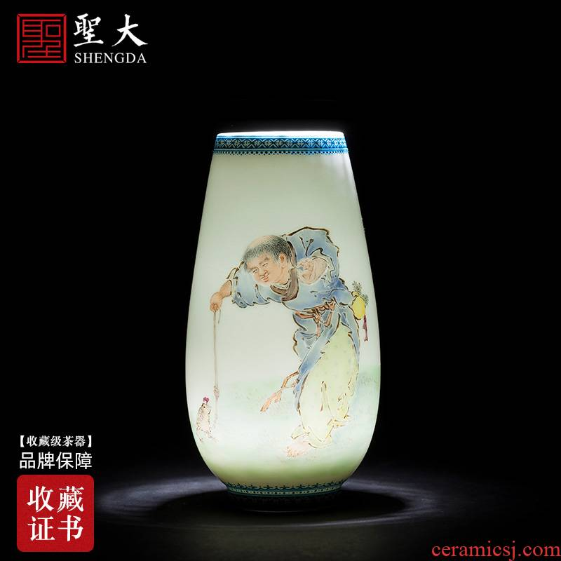 Santa furnishing articles of jingdezhen ceramic vase checking antique wang bang drama spittor flowers and floral outraged pastel characters