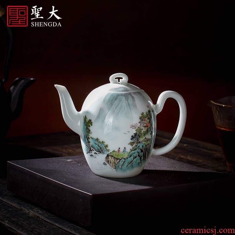 Holy big teapot hand - made ceramic kung fu new color landscape beauty shoulder teapot single pot full manual of jingdezhen tea service