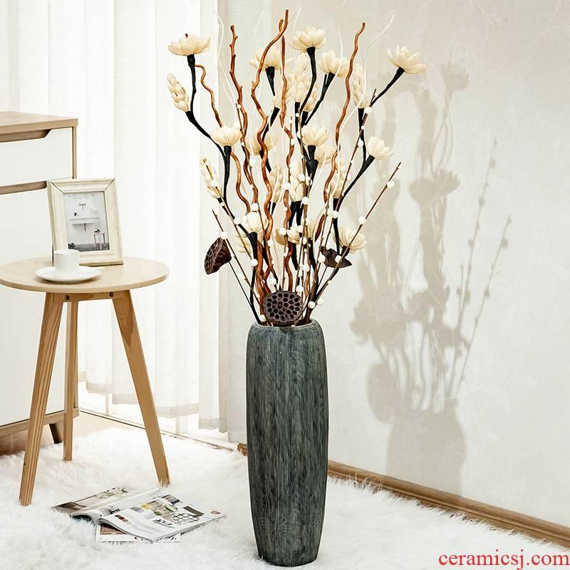 The ground simulation flower vase household adornment sitting room European - style large - sized ceramic flower arranging dried flower vase creative furnishing articles