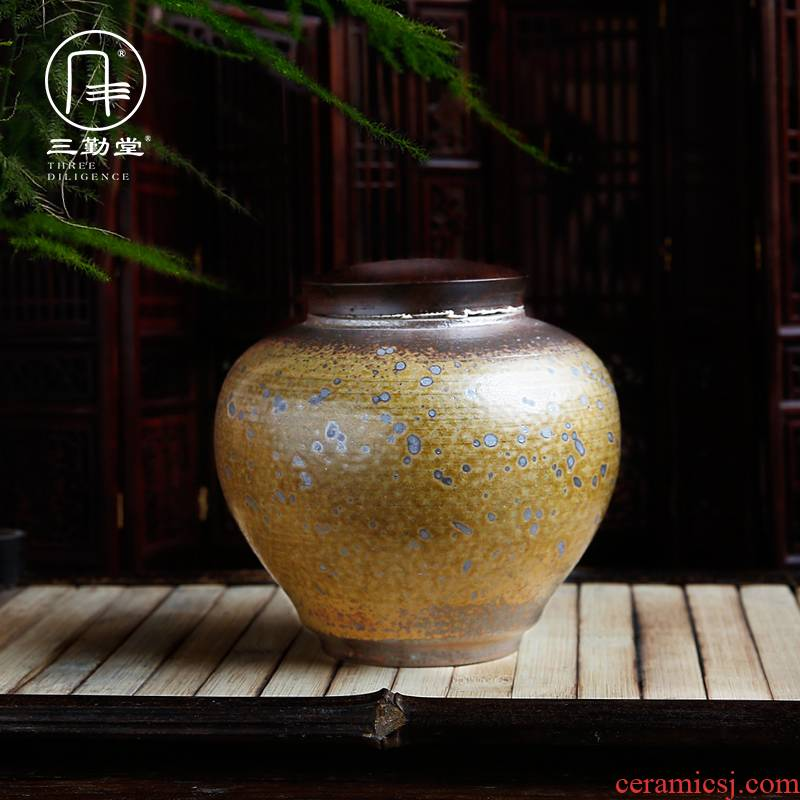 Three frequently hall large tea caddy fixings large storage warehouse of jingdezhen ceramics POTS texture sealed as cans S51044 by hand