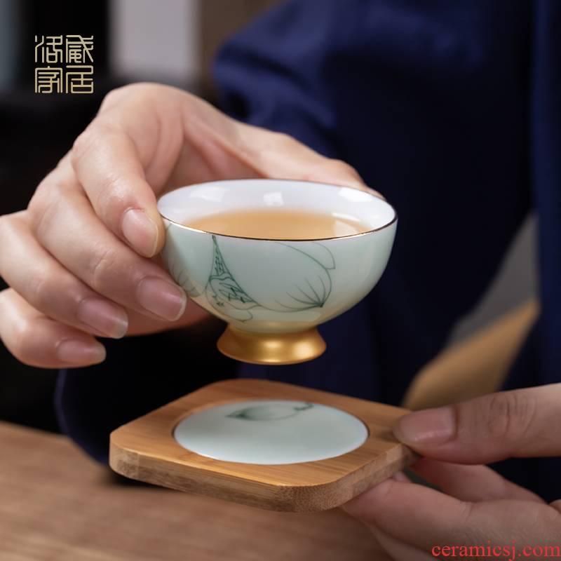 Hand - made kung fu tea cups with jingdezhen tea sample tea cup set ceramic tea cup mat clepsydra teapot